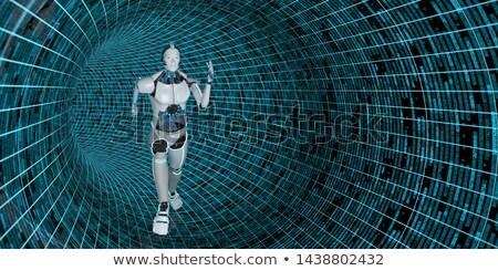 работает гуманоид робота данные трубы 3d иллюстрации Сток-фото © limbi007