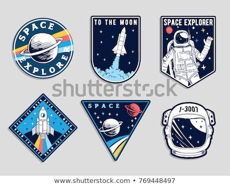 Klasszikus űr űrhajós jelvények logók címkék Stock fotó © netkov1