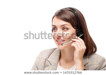 かなり 小さな 丁寧な マネージャ コールセンター 話し ストックフォト © pressmaster