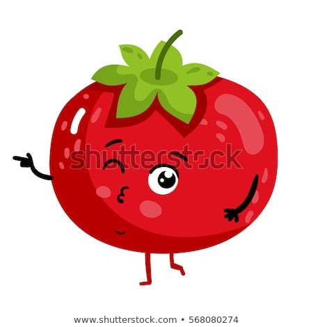 Sorridente tomates mascote isolado branco Foto stock © hittoon