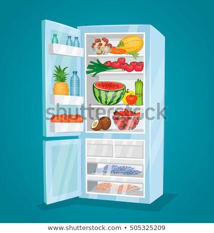 Open koelkast vers vruchten plantaardige rauw voedsel Stockfoto © galitskaya