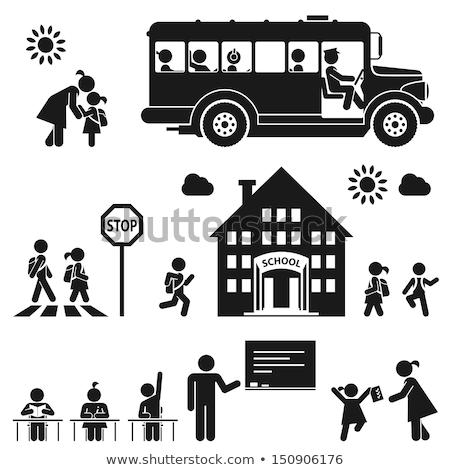 Autobus czarny ikona miasta sylwetka biały Zdjęcia stock © YuriSchmidt