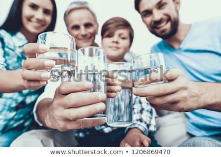 Starszy kobieta okulary szkła wody piękna Zdjęcia stock © dolgachov