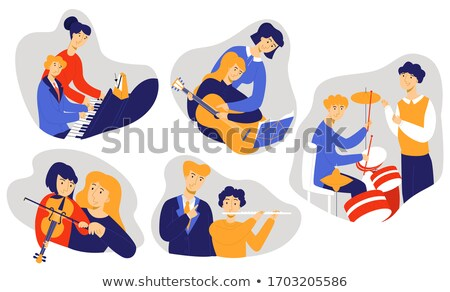 Musical instruments flat cliparts set Stock photo © barsrsind