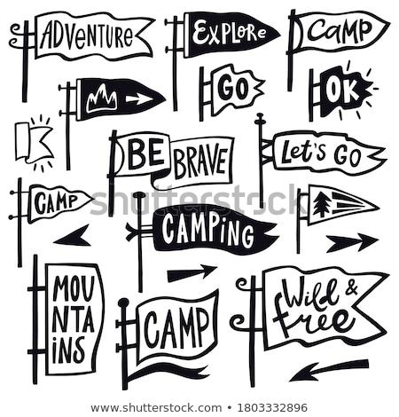 Vintage hiking logos, mountain adventure badges set. Hand drawn camp labels designs. Travel expediti Stock photo © JeksonGraphics