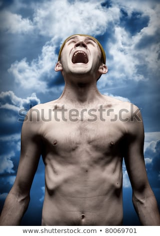 Despaired screaming man against dramatic sky Stock photo © nomadsoul1