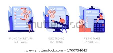 Adó visszatérés szoftver vektor metaforák jövedelem Stock fotó © RAStudio