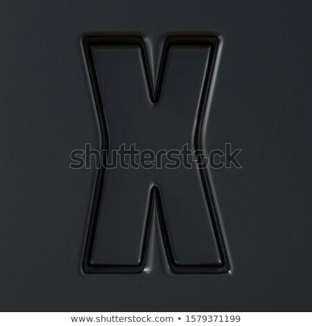 Zwarte gegraveerd doopvont brief 3D 3d render Stockfoto © djmilic