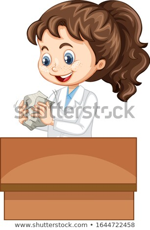 Girl in science gown making paper ball on white background Stock photo © bluering