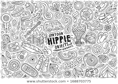 Vector set of Hippie theme items, objects and symbols Stock photo © balabolka