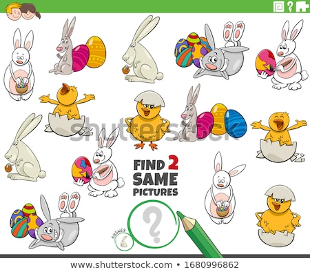 find two same Easter characters game for children Stock photo © izakowski