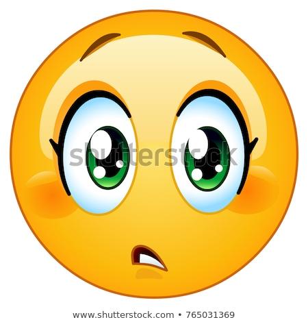 Anliegen weiblichen Emoticon aussehen Wunder überrascht Stock foto © yayayoyo