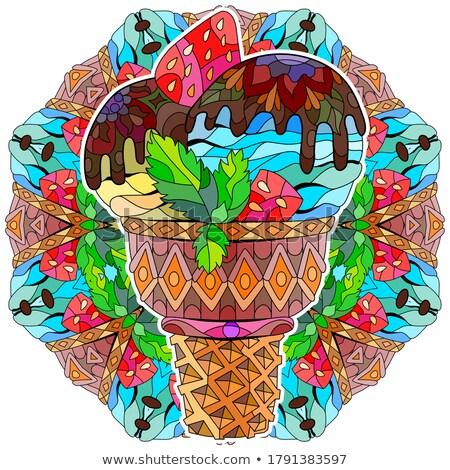 Dibujado a mano colorido helado ilustración mandala floral Foto stock © Natalia_1947