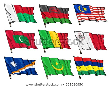 Mauritania flag and hand on white background. Vector illustration Stock photo © butenkow