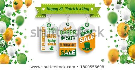 3 Price Sticker St Patricks Day Sale Ribbon White Stock photo © limbi007