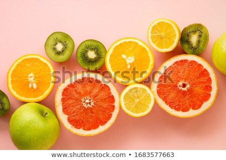 Foto stock: Peças · toranja · suculento · isolado · branco · laranja