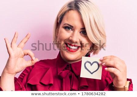 Belo loiro corações olhando câmera amor Foto stock © nurrka