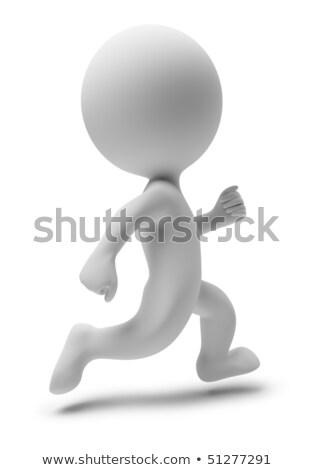 Сток-фото: 3D · небольшой · люди · запустить · работает · изображение