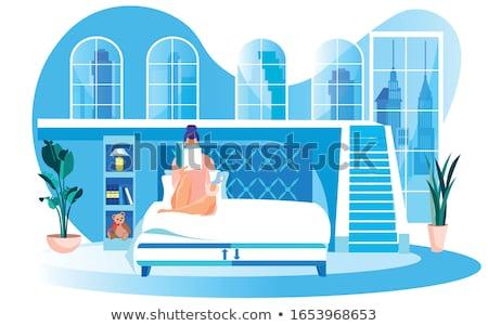 Kadın lateks oturma merdiven moda siyah Stok fotoğraf © phbcz