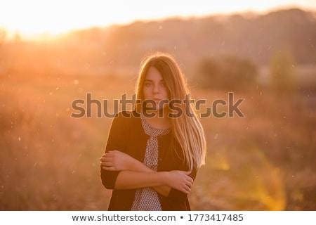 piękna · dziewczyna · stałego · brzegu · piękna · młoda · kobieta · czarny - zdjęcia stock © petrmalyshev