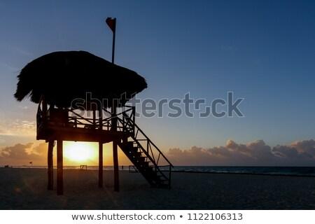 úszómester · kunyhó · tengerpart · fehér · homok · égbolt · természet - stock fotó © dehooks