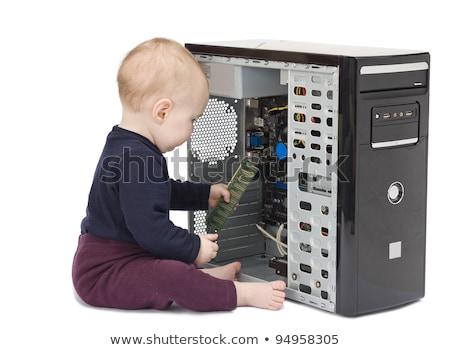 Fiatal gyermek fehér merevlemez piros póló Stock fotó © gewoldi