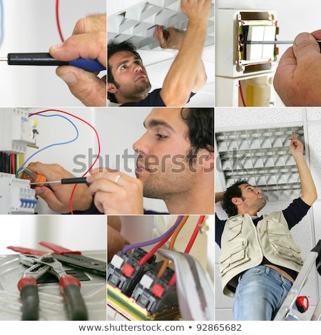 Photo-montage of an electrician at work Stock photo © photography33