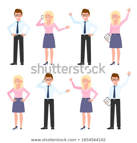 blonde woman waving Stock photo © pdimages