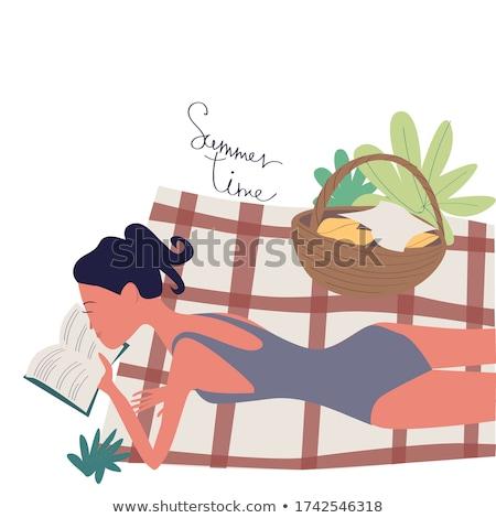 fiatal · barna · hajú · fürdőruha · könyv · víz · lány - stock fotó © photography33