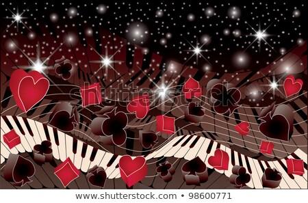 Poker melodia banner klawiatury tle sztuki Zdjęcia stock © carodi