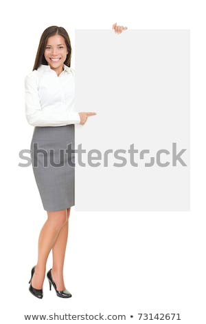 Professional woman holding a blank signboard Stock photo © stryjek