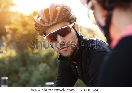 close-up shot of couple of cyclists wearing cycle helmet Stock photo © photography33