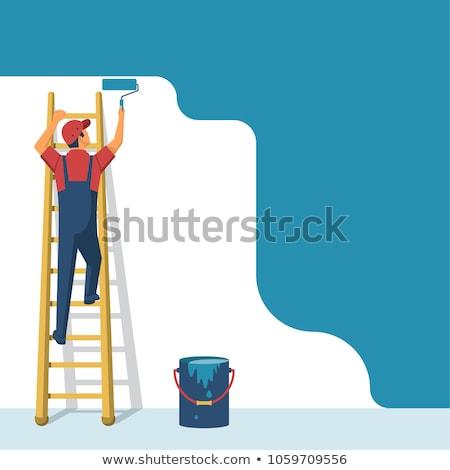 Stockfoto: Man · verf · ladder · muur · home · achtergrond