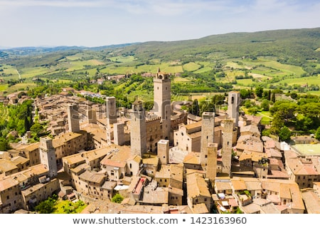 Tuscan village San Gimignano view from the tower Stock photo © wjarek