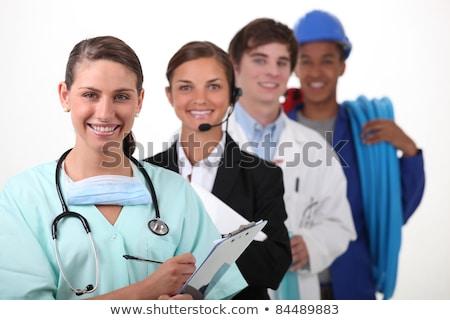 Cuatro personas diferente trabajo médico pluma salud Foto stock © photography33