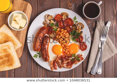 Engels ontbijt koffie oranje brood diner Stockfoto © M-studio