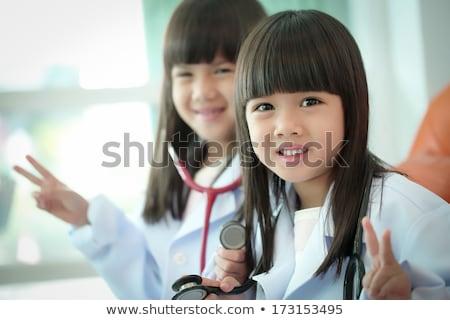 vicces · orvosok · portré · férfi · vágólap · kettő - stock fotó © photography33