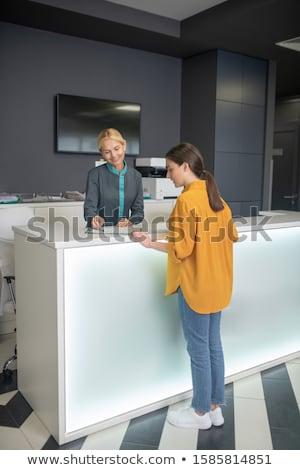 Szőke recepciós számítógép telefon munka gyógyszer Stock fotó © photography33