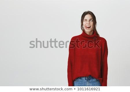 ondeugend · meisje · breed · jeans · Geel · top - stockfoto © acidgrey