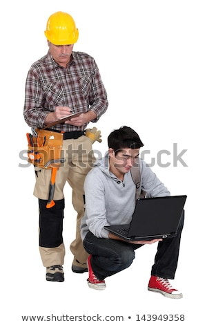 two factory workers stood by machine stock photo © photography33