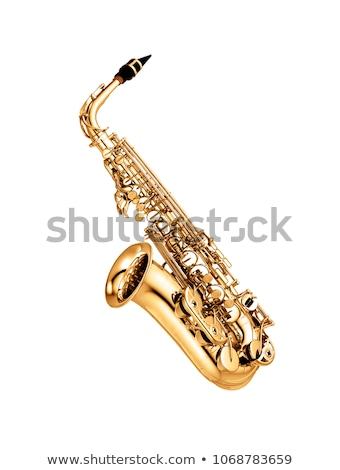 saksofon · yalıtılmış · beyaz · müzik · arka · plan · karanlık - stok fotoğraf © ozaiachin