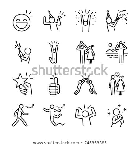 Pessoas felizes ícone homem corpo beleza grupo Foto stock © Myvector