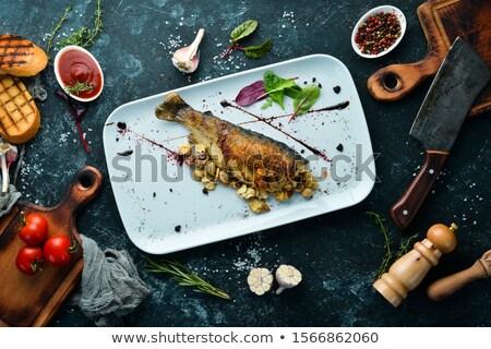 Pstrąg słodkie sos górę odznaczony Zdjęcia stock © tab62