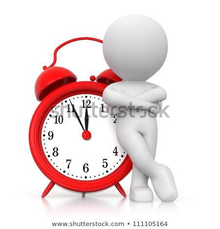 3d · pessoas · relógio · branco · negócio · fundo · vermelho - foto stock © Quka