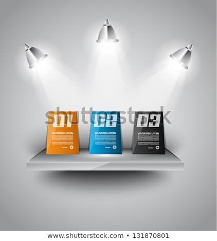 Foto stock: Infográficos · papel · moderno · prateleira · luzes · sombras