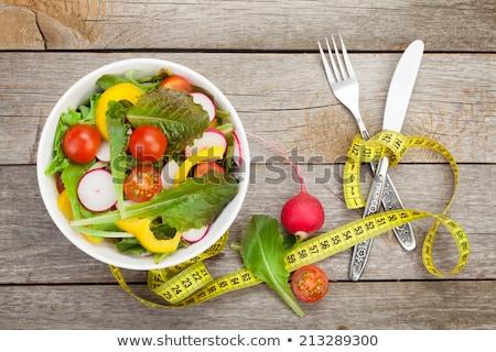 вилка томатный рулетка здоровое питание синий обеда Сток-фото © Grazvydas