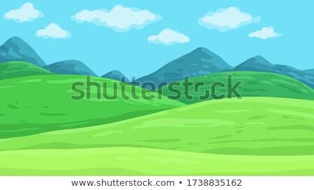 Yeşil alan dağlar manzaralı görmek karanlık Stok fotoğraf © mike_expert