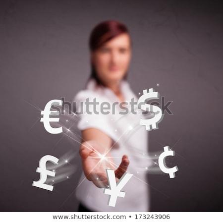 investimento · bastante · mulher · de · negócios · moeda · símbolos · projeto - foto stock © hasloo