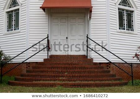 kilise · kapılar · eski · ahşap · kapalı · şehir - stok fotoğraf © shanemaritch