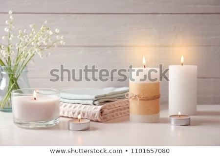 Asciugamano aromatico candele oggetti legno foglia Foto d'archivio © kuligssen